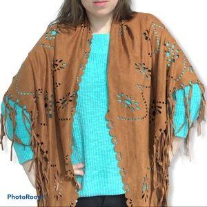 New Simons faux suede eyelet boho shawl